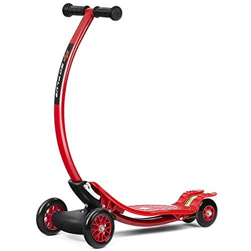Goplus Kick Scooter for Children w/ 3 Durable PU Wheels Kids Scooter (Red)