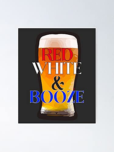 AZSTEEL Red White Booze Beer Poster | Best Gift for Family and Your Friends 12x17 Inch