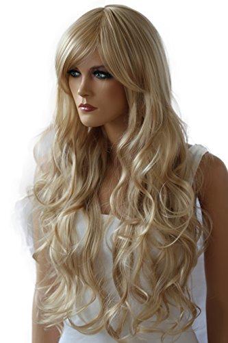 PRETTYSHOP Unisexe Perruque Pleine Cheveux Longs Fibres Synthétiques Résistant à La Chaleur Ondulé Volumineux blond # 15 FS836n