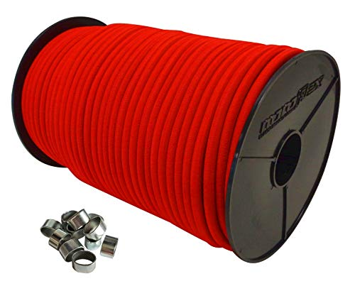 10mm Expanderseil 20m Gummiseil + 10 Würgeklemmen Gummileine Planenseil Seil Plane in Rot