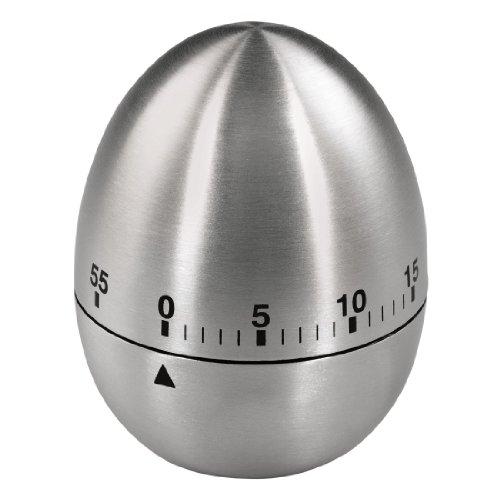 Xavax Analoger Kurzzeitwecker (Eieruhr mit Timer-Funktion, Küchenwecker aus Edelstahl, Küchentimer) silber