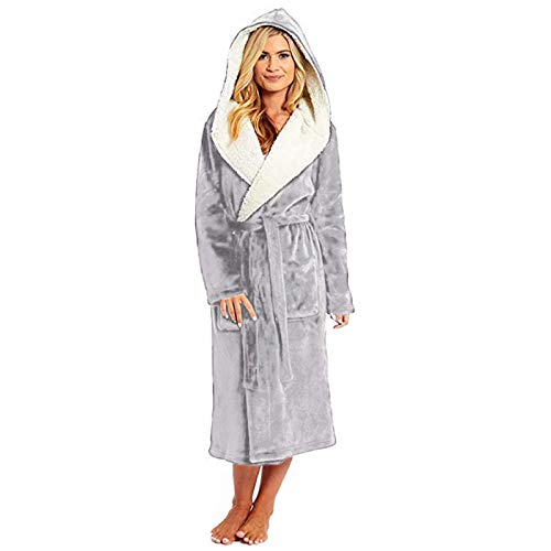 Dshuai Bademantel Damen Luxus Fleece Kimono Kleider Robe Ribbon Wrapped Kapuzen Bademantel Sleepwear Mantel Loungewear (Grau, XXXXXL)
