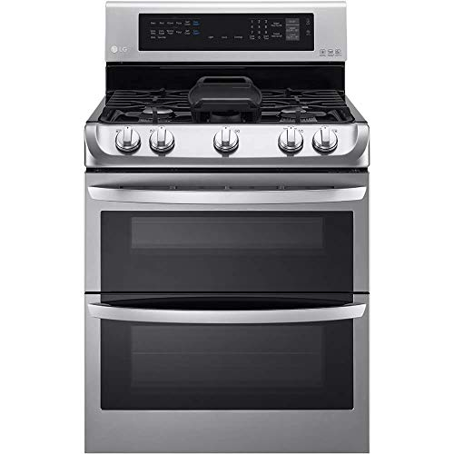 LG LDG4315ST 30' Freestanding Double Oven Gas Range with 6.9 cu. ft. Capacity, 5 Burners, Griddle, Probake Convection, Glass Touch Controls and Door Lock, in Stainless Steel