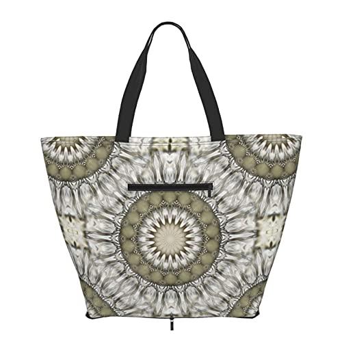 Bolsa de hombro plegable Mandala bolsa de mano para mujeres y niñas grande reutilizable llevar gran bolsa de viaje bolsas de hombro moda