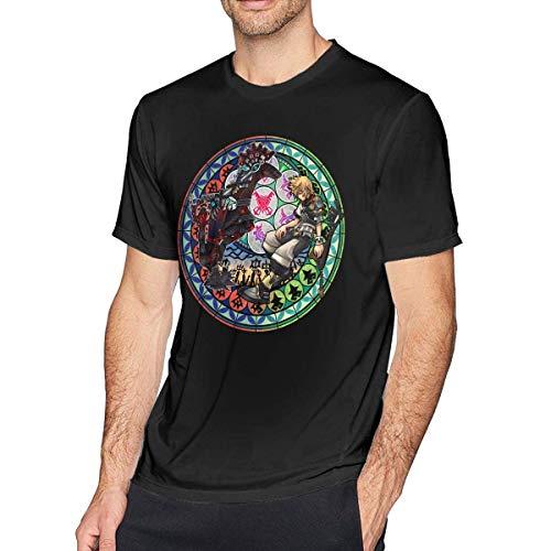 SOTTK Camisetas y Tops Hombre Polos y Camisas, Mens Cool Kingdom Hearts Logo Tees Black
