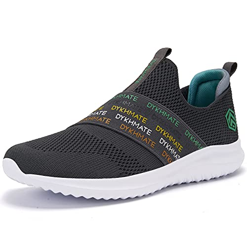 DYKHMATE Zapatillas de Running Mujer Zapatillas Deportivas Ligero Transpirables Malla Sneakers Fitness Atlético Slip On Rainbow Caminar Zapatos (Gris Oscuro,38.5 EU)