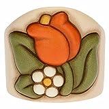 THUN ® - Porta Bicchieri Singolo in Ceramica Country con Tulipano