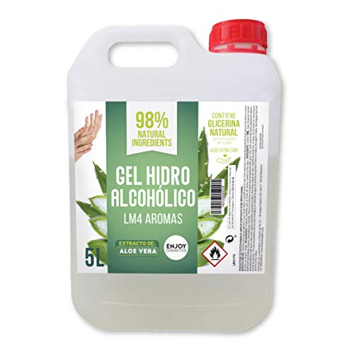 Gel hidroalcohólico de 5000 ml con EXTRACTO NATURAL DE ALOEVERA y con 70% alcohol y con glicerina NATURAL para el cuidado de la piel. 98% ingredientes Naturales. NUEVOS AROMAS