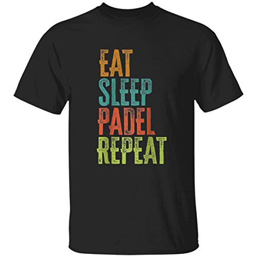 R.etro Eat Sleep Padel Repeat Racket Pop T.e.nnis Bike Cycling - Front Print T Shirt For Men and Women