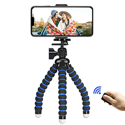 Phone Tripod,iPhone Tripod Portable Flexible Camera Stand Mini Holder with Wireless Remote Shutter and Universal Clip for Android Cell Phone Samsung Sports Camera GoPro