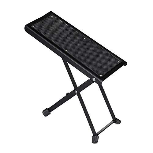 Relaxdays Fußbank Gitarre, ergonomische Haltung, rutschfest, faltbar, 4 Höheneinstellungen, Gitarrenfußständer, schwarz