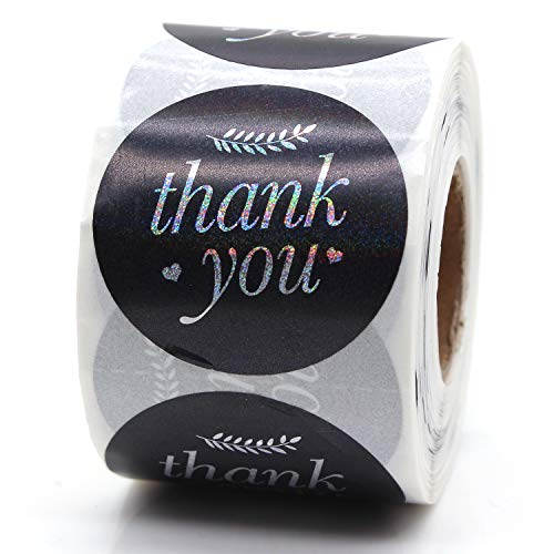 Thank You Sticker, Small Shop Sticker, Small Business, Packaging Sticker, Real Gold 500 PCS, 1.5 inch,-Vintage Feather (Black)