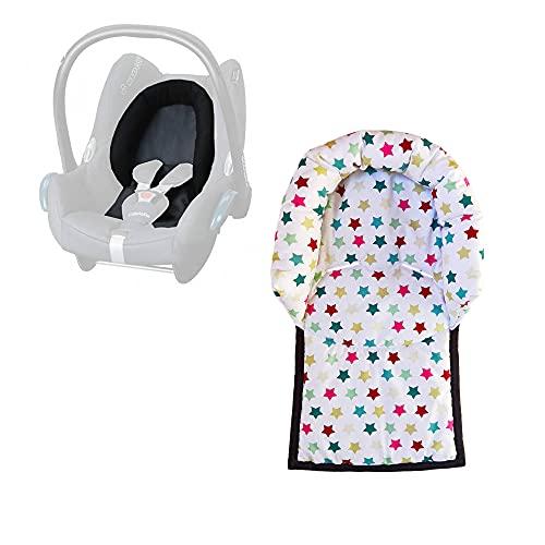 Aveanit Maxi Cosi – Reposacabezas acolchado para portabebés, reductor de asiento Cabriofix Citi NewBorn, reductor de asiento de coche, 100 % algodón, color blanco con estrellas de colores