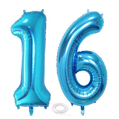 SNOWZAN Luftballon 16. Geburtstag Deko Blau Junge Zahl 16 Riesen Folienballon Helium Nummer 16 Luftballon Große Zahlen 16 Jahre XXL 16. Happy Birthday 32 Zoll Riese Zahl 16Geburtstag für Party