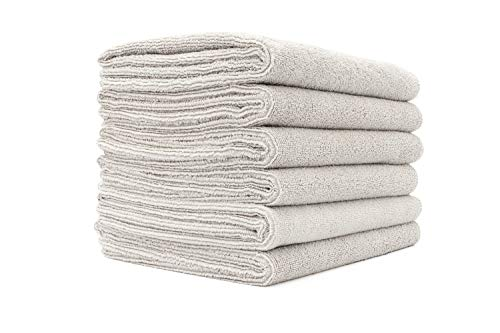 The Rag Company (6-Pack 16 in. x 27 in. Spa, Gym, Yoga, Exercise, Fitness, Sport and Workout Towel - Ultra Soft, Super Absorbent, Fast Drying Premium Weight Microfiber Terry - ICE Grey