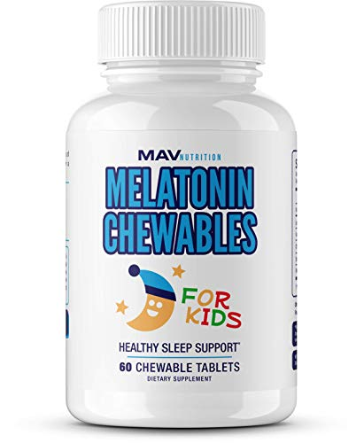 MAV Nutrition Melatonin Sleep Aid Vitamins for Kids with Vitamin D, Chamomile, & Valerian Root, Non-GMO, Vegetarian Friendly, 60 Count