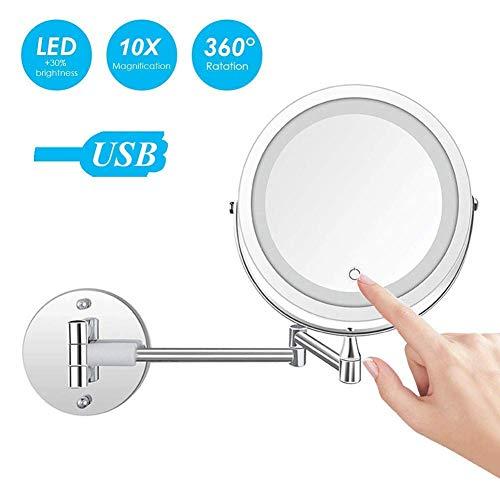 Preisvergleich Produktbild WSJ Changhua-Schminkspiegel,  Edelstahl / verchromt / Wandmontage / LED-Beleuchtung / Stromversorgung über USB / Rostfrei / 360-Grad-Drehung