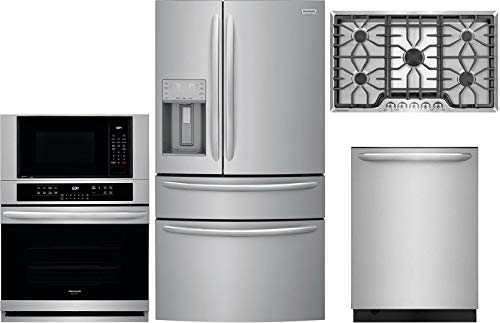 """Frigidaire 4 Piece Kitchen Appliance Package with FG4H2272UF 36"""" French Door Refrigerator FGMC3066UF 30"""" Double Wall Oven/Microwave Combo FGGC3645QS 36"""" Gas Cooktop and FGID2476SF 24"""" Built In Fully Integrated Dishwasher in Stainless Steel"""