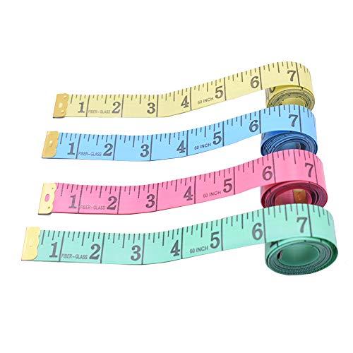 Schneider Maßband, 4 Stück Weiches Maßband mit Boxen, Messbereich 150cm zum Nähen, Schneidern, Stoff, Handwerk (Zufällige Farbe)