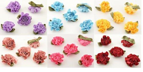 20 Stück Stoffblumen Streublumen mit Aufreihloch ca. 33x30mm zum Dekorieren und Basteln (Rot)