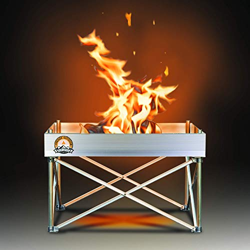 Pop-Up Fire Pit | Portable and Lightweight | Fullsize 24 Inch | Weighs 7 lbs. | Never Rust Fire Pit | Heat Shield NOT Included