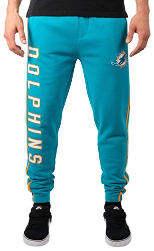 Ultra Game Men's NFL Jogger Pants Active Basic Fleece Sweatpants, Miami Dolphins, Team Color Stripe, Medium