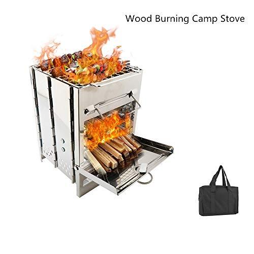 FastUU Tragbarer Holzofen, Picknick-Holzkohlegrill aus rostfreiem Stahl, brennbarer Herd, langlebiger, klappbarer Campingkocher-Grill mit Gitterplatte, abnehmbares Design für den Außenbereich