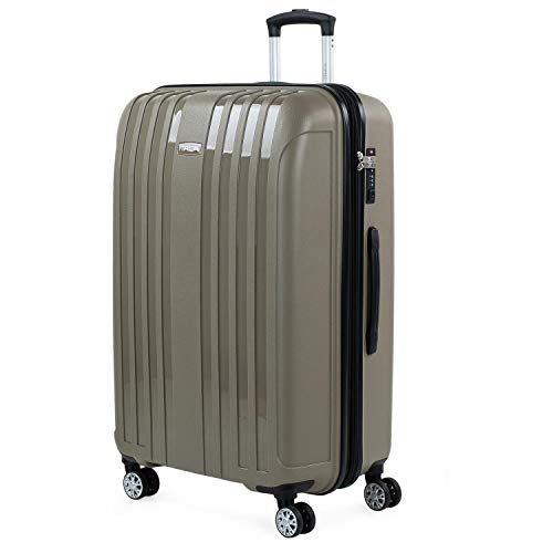 ITACA - Uitbreidbare grote koffer voor rigide reizen met 4 dubbele wielen gemaakt van polypropyleen met TSA-slot, lichtgewicht en bestendig 760270, Color Beige