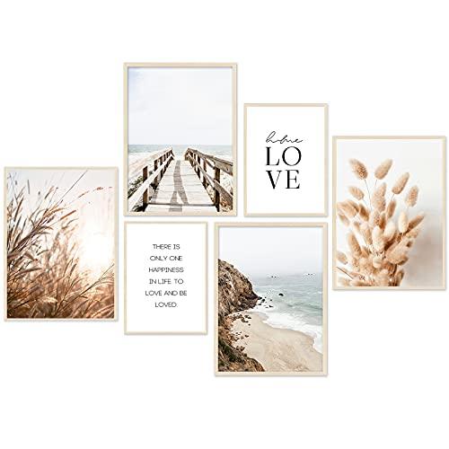 Moderno juego de pósteres – Beige Love playa cuadros juncos salón póster dormitorio decoración – Juego de 6 sin marco ((beige, mar, pampas grass set 4x A4 | 2x A5)