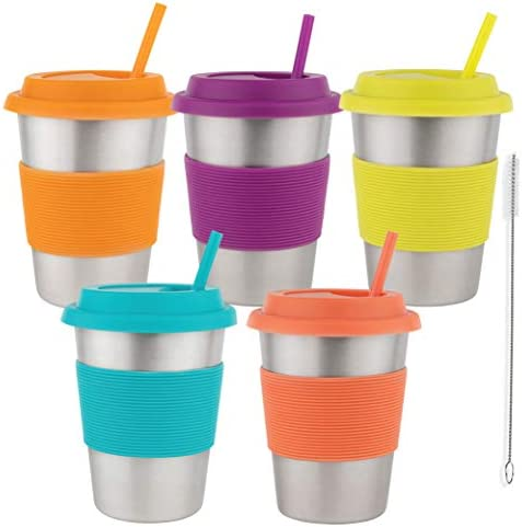 Homeries Kids Stainless Steel Cups Tumbler with Silicone Lid Straws Set of 5 Ecofriendly Drinking product image