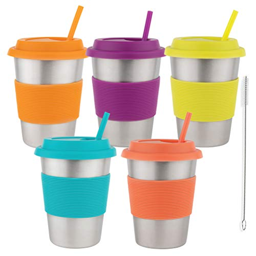 Homeries Kids Stainless Steel Cups Tumbler with Silicone Lid & Straws (Set of 5) | Ecofriendly Drinking Tumblers for Children, Toddlers & Adults (12 Ounce)