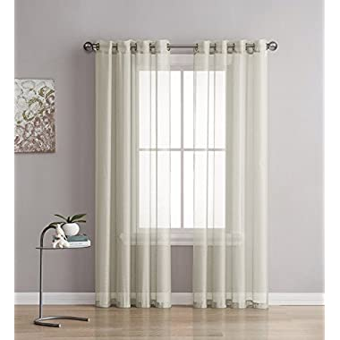 Grommet Semi-Sheer Curtains - 2 Pieces - Total Size 108 Inch Wide (54 Inch Each Panel) - 95 Inch Long - Panel Beautiful, Elegant, Natural Light Flow, and Durable Material (Beige)