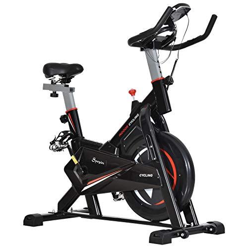 homcom Cyclette in Acciaio Nero con Monitor LCD, Seduta, Manubrio e Resistenza Regolabile Volano 10kg, 53.5 x 110 x 105-117cm