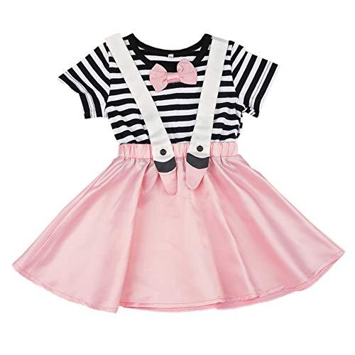 Miyanuby Kleinkind Baby M/ädchen Kleider Off-Schulter Bowknot A-Linie Sommer Casual Party Kleider Kleidung