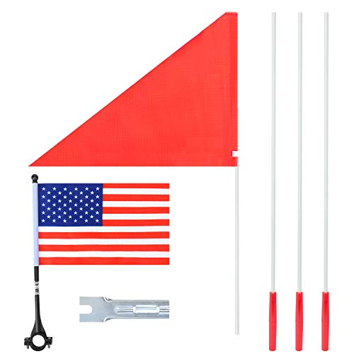 Bike Flag, 6 Feet High Visibility Safety Flag with Heavy Duty Fiberglass Flag Pole, Tear-Resistant Polyester Bicycle Flag and Cycling Handlebar USA Flag, Waterproof Cycle Flag with Bracket (1 Pack)