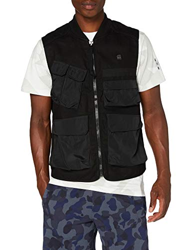 G-STAR RAW Mens Utility Vest Jacket, dk Black C409-6484, X-Large