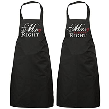 Couples Mr Right Mrs Always Right Black Apron Set Novelty Gift Wedding Anniversary Husband Wife House Warming Kitchen Present