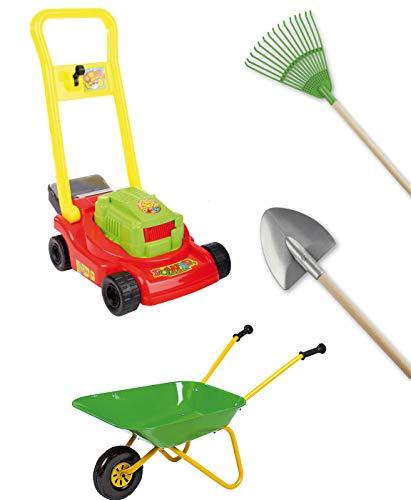Kinder Gartenwerkzeug Set Rolly Schubkarre Rasenmäher Schaufel Rechen