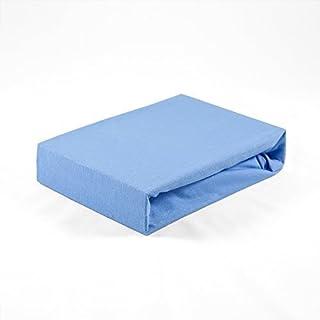 Mjuk premium resårlakan Jersey 60 x 120 cm andas, för baby- och barnmadrasser (blå)