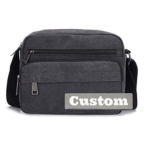 FireH personalizzato nome personalizzato classico Messenger Bag grandi borse a tracolla per gli uomini borse da viaggio sopra (colore : nero, taglia unica)