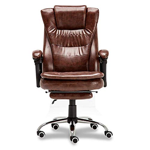 LLSS Executive Office Leather Chair, 170° Rocking High Back with Linkage Armrest and Footrest Reclining Computer Desk Chair Ergonomic Furniture Chairs