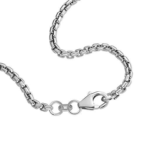 Venezianerkette 925 Sterlingsilber Rhodiniert Rund Breite 2,70mm Unisex Silberkette Halskette NEU (60 Zentimeter)
