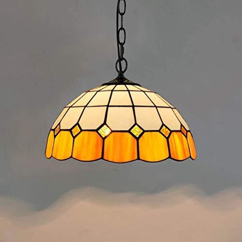 miwaimao Lámpara de araña moderna sencilla de color amarillo, 12 pulgadas, lámpara de techo Tiffany para comedor, bar, restaurante
