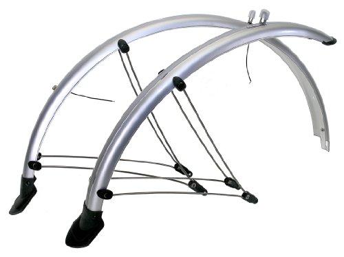 Fahrrad Schutzblech Silber Set 28 Zoll mit Kontaktsteifen