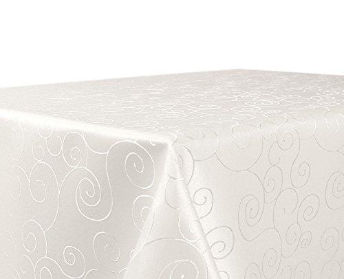 BEAUTEX Tischdecke Damast Ornamente - Bügelfreies Tischtuch - Fleckabweisende, Pflegeleichte Tischwäsche - Tafeltuch, Eckig 130x220 cm, Champagner