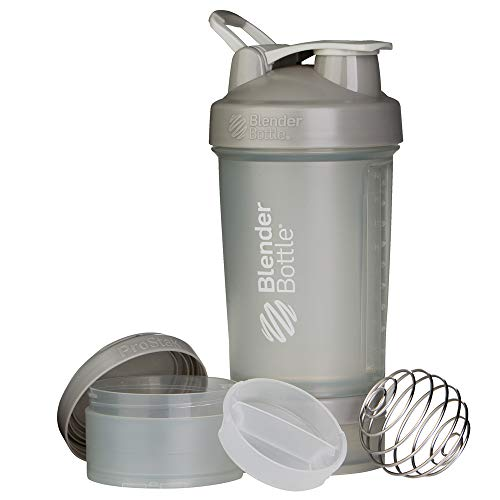 BlenderBottle ProStak Shaker per proteine 650 ml, Pebble Grigio, 650 ml
