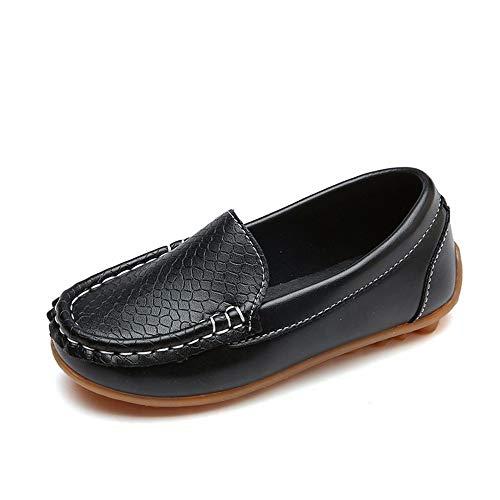 WEXCV Kinder Kind Jungen Mädchen Solide Leder Sport Lazy Sneaker Casual Bootsschuhe (EU:30, Schwarz)