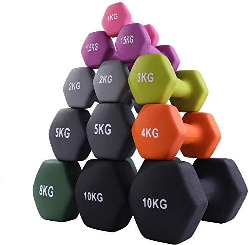 CUQNORL ダンベル ノンスリップダンベル カラーダンベル 2個入れセット ソフトゴムコーティング 筋トレ 男女兼用 1kg/1.5kg2kg/3kg/4kg/5kg/6KG/8kg/10kg