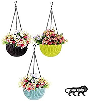 """GrowPlanter Round Rattan Woven Plastic Hanging Pots, Hanging Planters for Plants, Multicolor Hanging Pots for Garden, Balcony, Patio (Pack of 3) (Small 6"""" in Diameter)"""