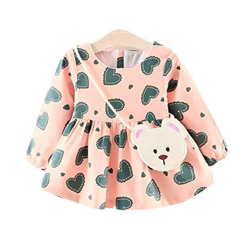 HUI.HUI - Robe Princesse à Manches Longues pour bébé avec imprimé Coeur et Fillette + Petit Sac
